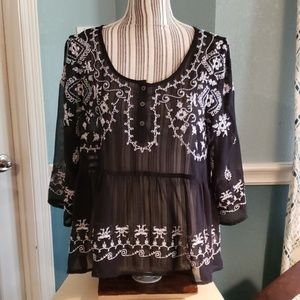 Black see through black with white embroidery sz.S